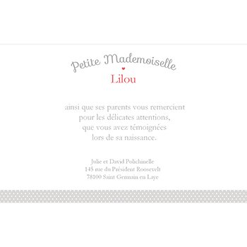 Carte de Remerciement Naissance Petite Mademoiselle pas cher