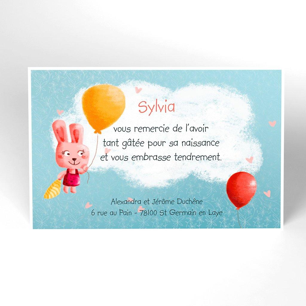 Carte de Remerciement Naissance Bienvenue bébé fille