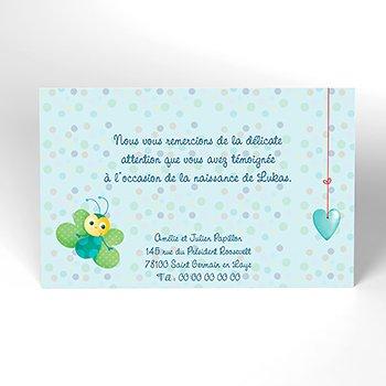Carte de Remerciement Naissance Cocoon bleu