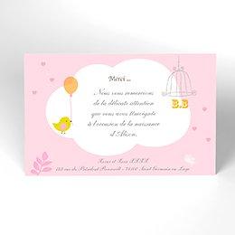 Carte de Remerciement Naissance Sucre d'Orge rose