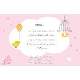 Carte de Remerciement Naissance Sucre d'Orge rose pas cher