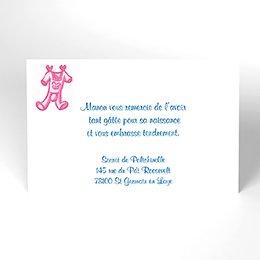 Carte de Remerciement Naissance Layette fille
