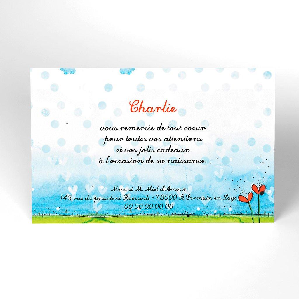 Carte de Remerciement Naissance Miel d'Amour
