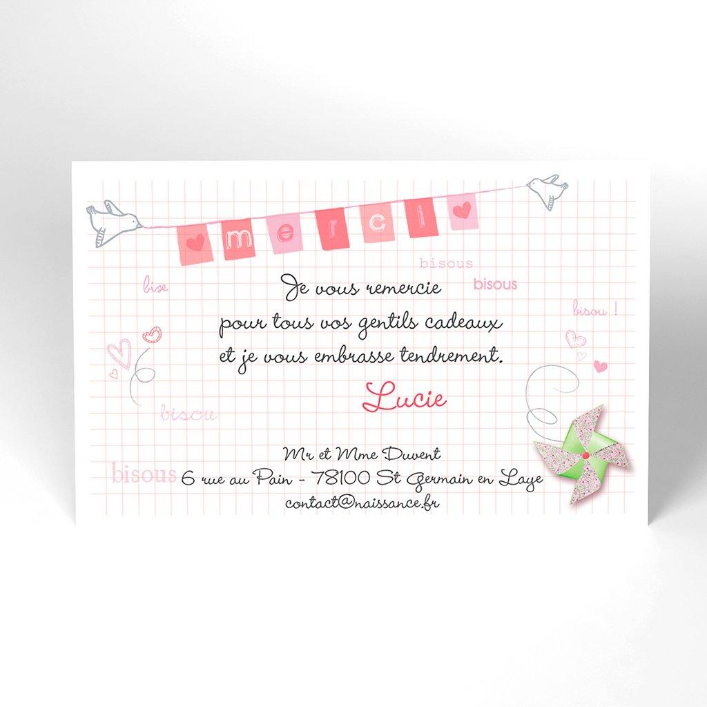 Carte de Remerciement Naissance Petit moulin