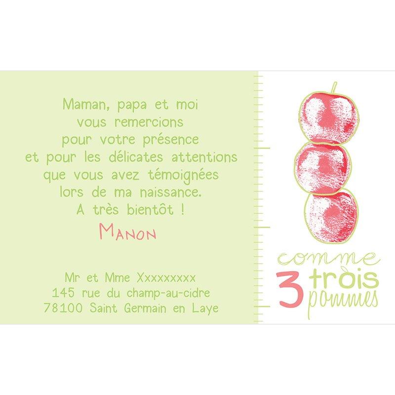 Carte de Remerciement Naissance Comme 3 pommes pas cher