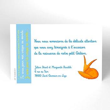 Carte de Remerciement Naissance Le Petit Prince 4 personnalisé