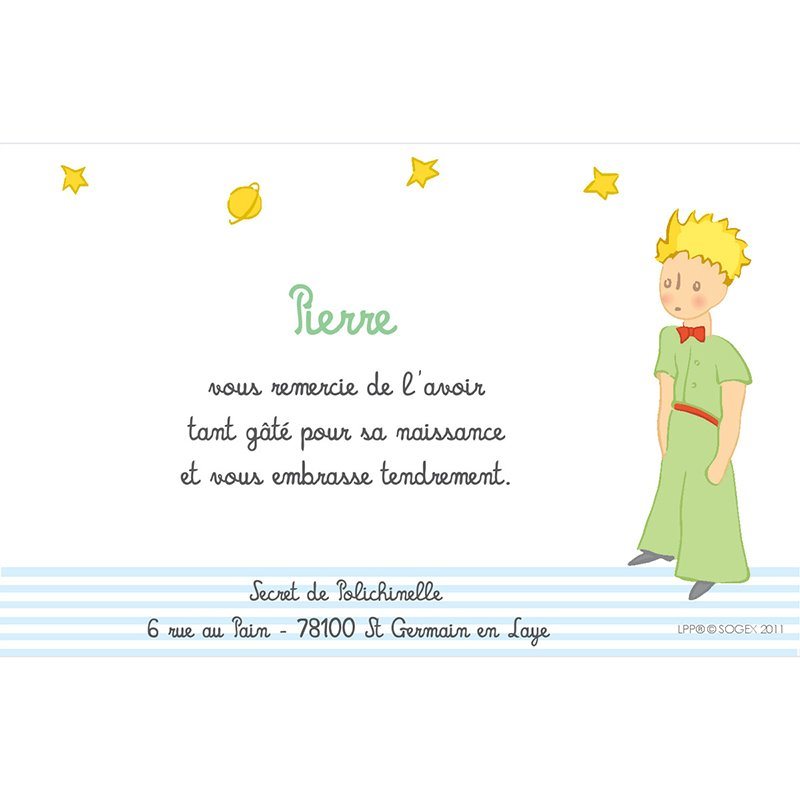 Carte de Remerciement Naissance Le Petit Prince 6 pas cher