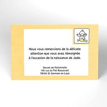 Carte de Remerciement Naissance Love Story jaune pas cher