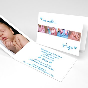 Faire-part de Naissance Pictos photos bleu original