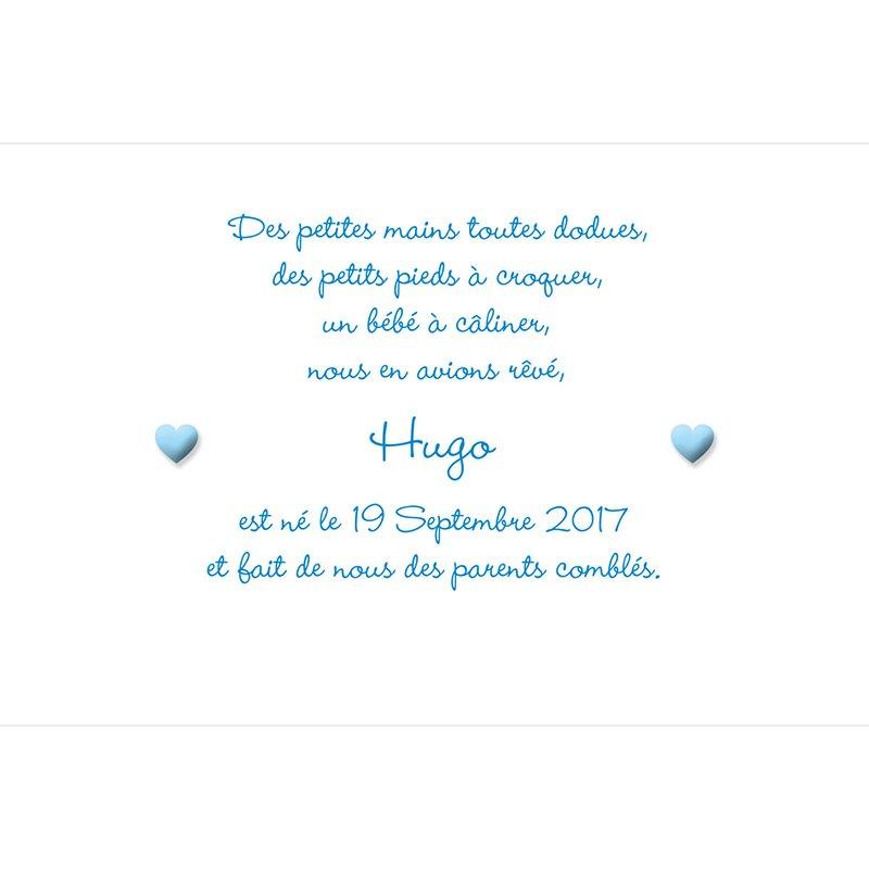 Faire-part de Naissance Pictos photos bleu