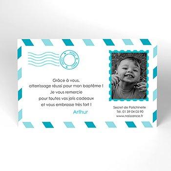 Carte de Remerciement Baptême Billet d'Avion baptême garçon pas cher