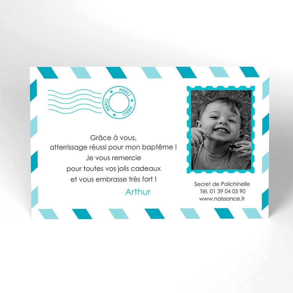 Carte de Remerciement Baptême Billet d'Avion baptême garçon