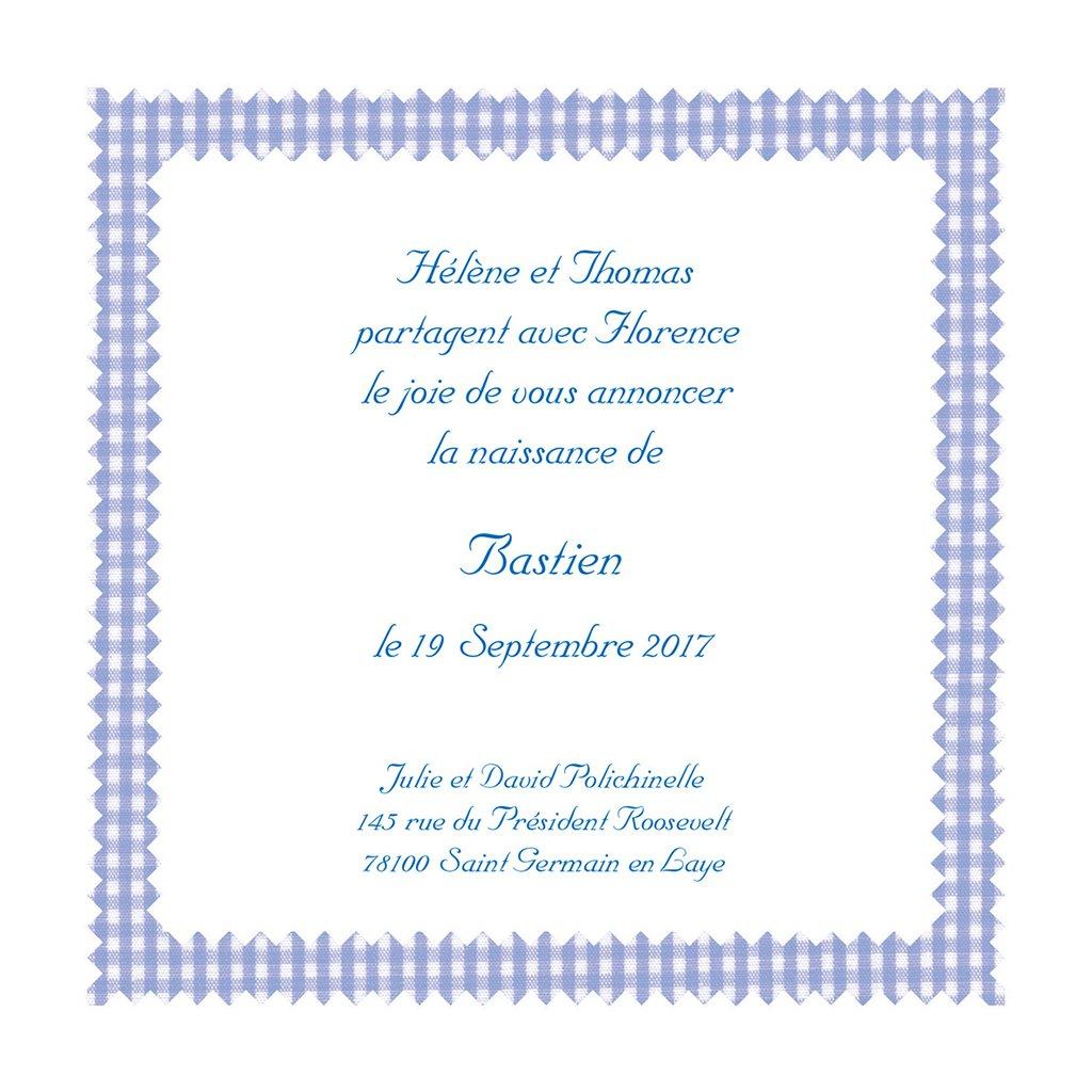 Faire-part de Naissance Vichy bleu gratuit
