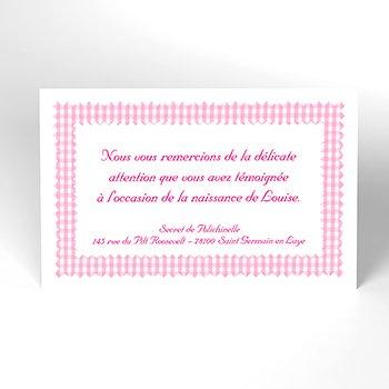 Carte de Remerciement Naissance Vichy rose personnalisé