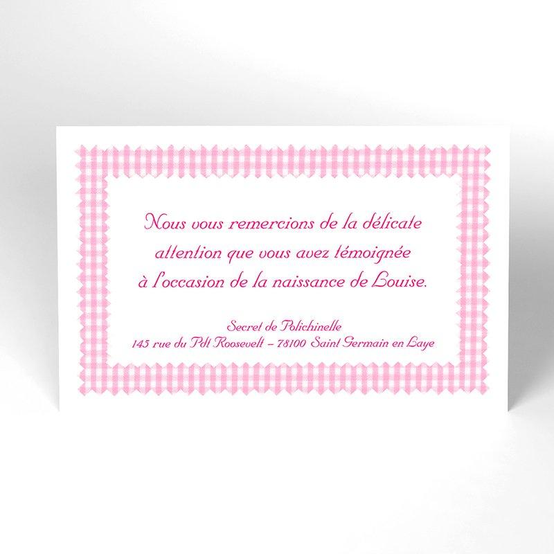 Carte de Remerciement Naissance Vichy rose