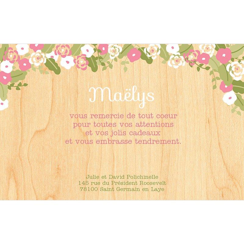 Carte de Remerciement Naissance Fleurs des Champs