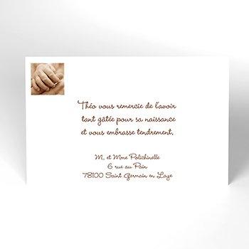 Carte de Remerciement Naissance Arabesque brun original
