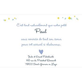 Carte de Remerciement Naissance Jardin Secret bleu original