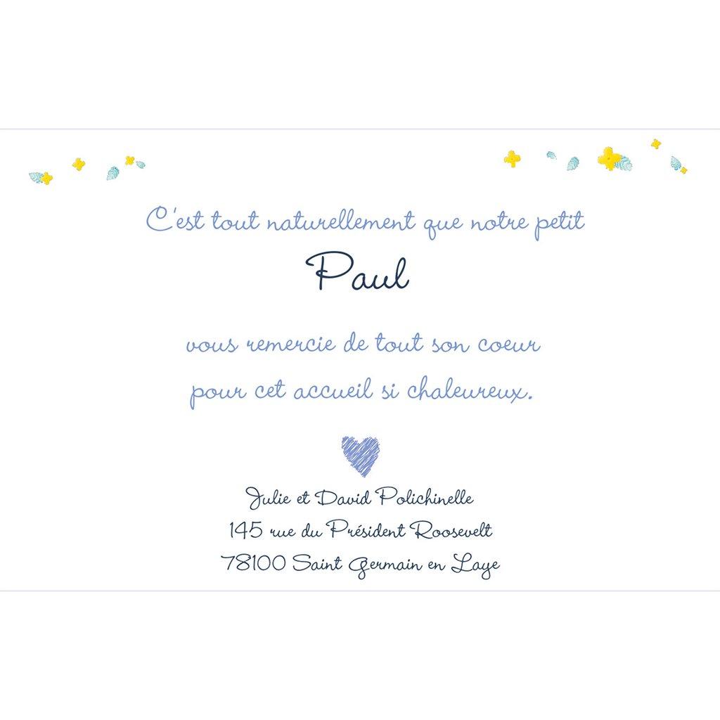 Carte de Remerciement Naissance Jardin Secret bleu