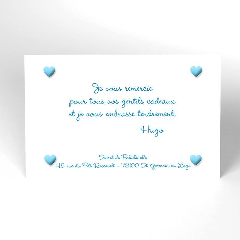 Carte de Remerciement Naissance Pictos bleu