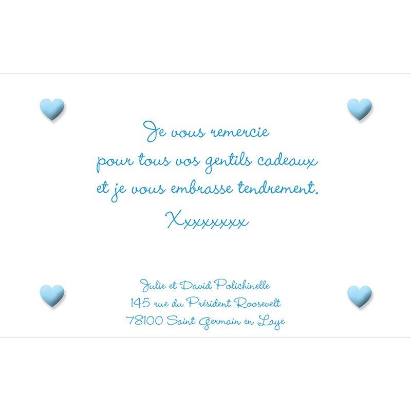 Carte de Remerciement Naissance Pictos bleu pas cher
