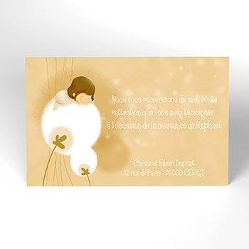 Carte de Remerciement Naissance Fleur de Coton personnalisé