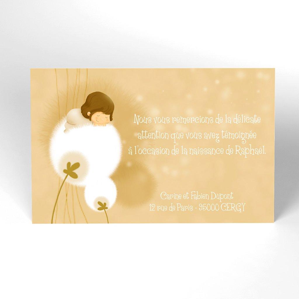 Carte de Remerciement Naissance Fleur de Coton