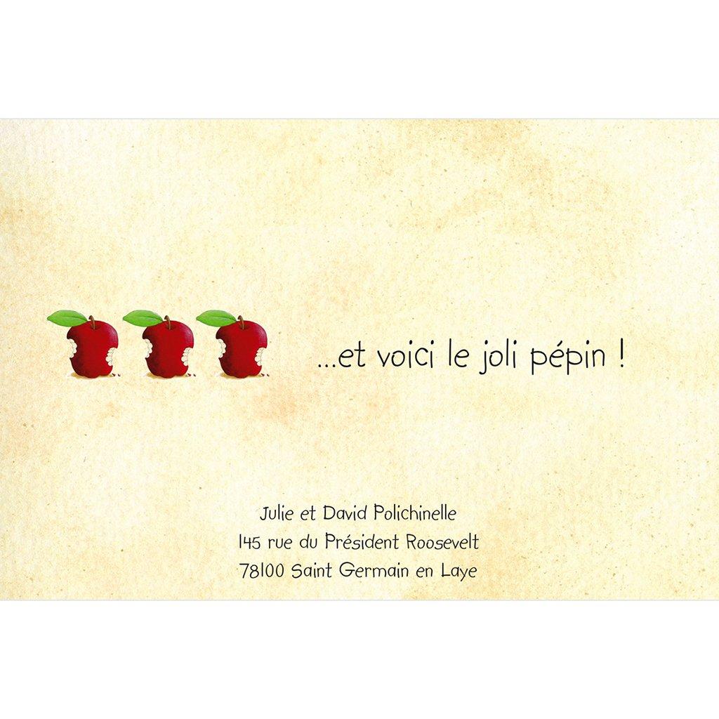 Faire-part de Naissance La Pomme sans photo gratuit