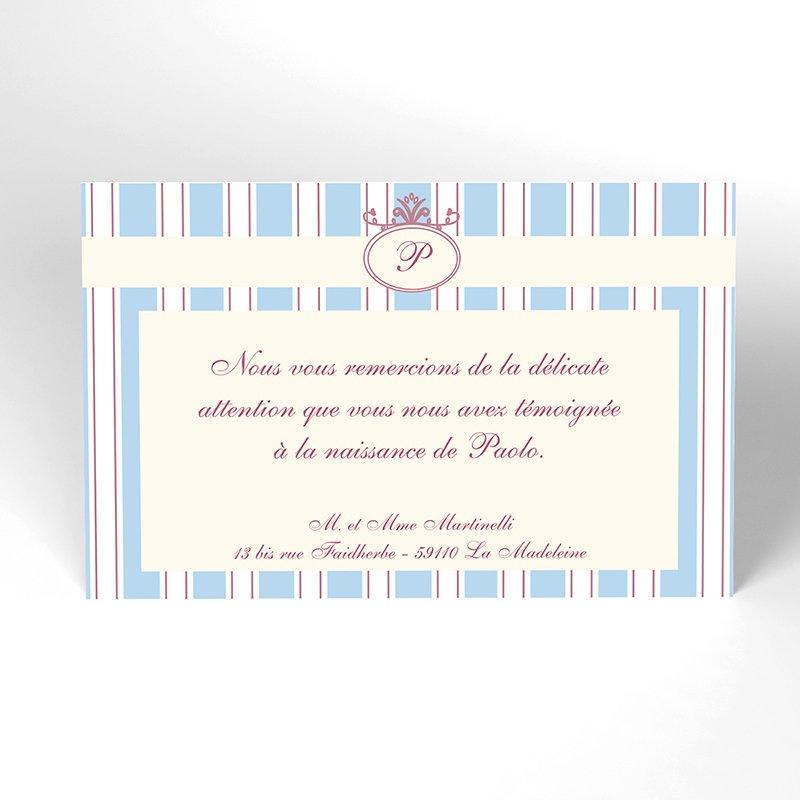 Carte de Remerciement Naissance Ruban