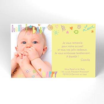 Carte de Remerciement Naissance Pastel Party original