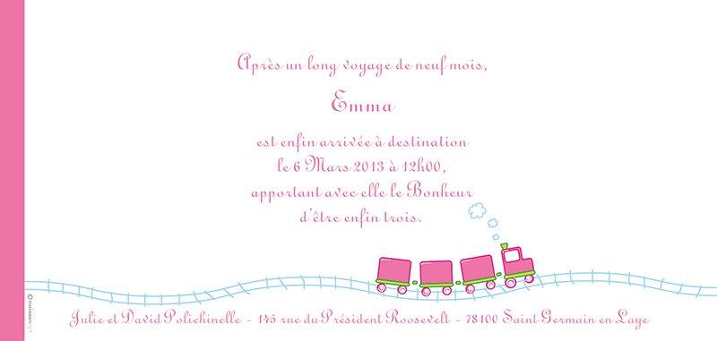 Faire-part de Naissance Le Train gratuit