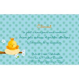 Carte de Remerciement Naissance Piou-piou bleu pas cher