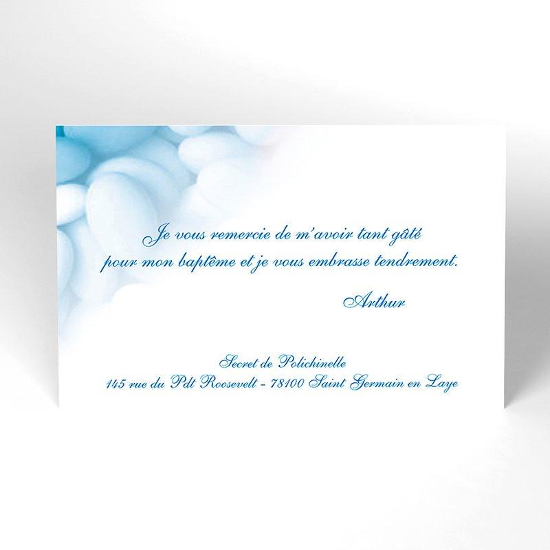 Carte de Remerciement Baptême Dragées bleu