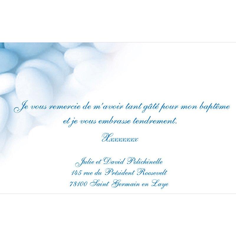 Carte de Remerciement Baptême Dragées bleu pas cher