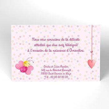 Carte de Remerciement Naissance Cocoon rose pas cher