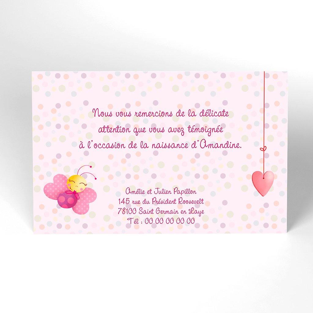 Carte de Remerciement Naissance Cocoon rose