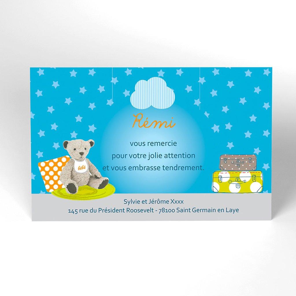 Carte de Remerciement Naissance Baby room bleu