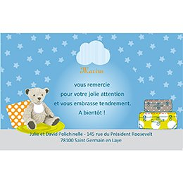 Carte de Remerciement Naissance Baby room bleu pas cher