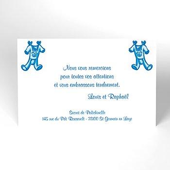 Carte de Remerciement Naissance Layette jumeaux pas cher