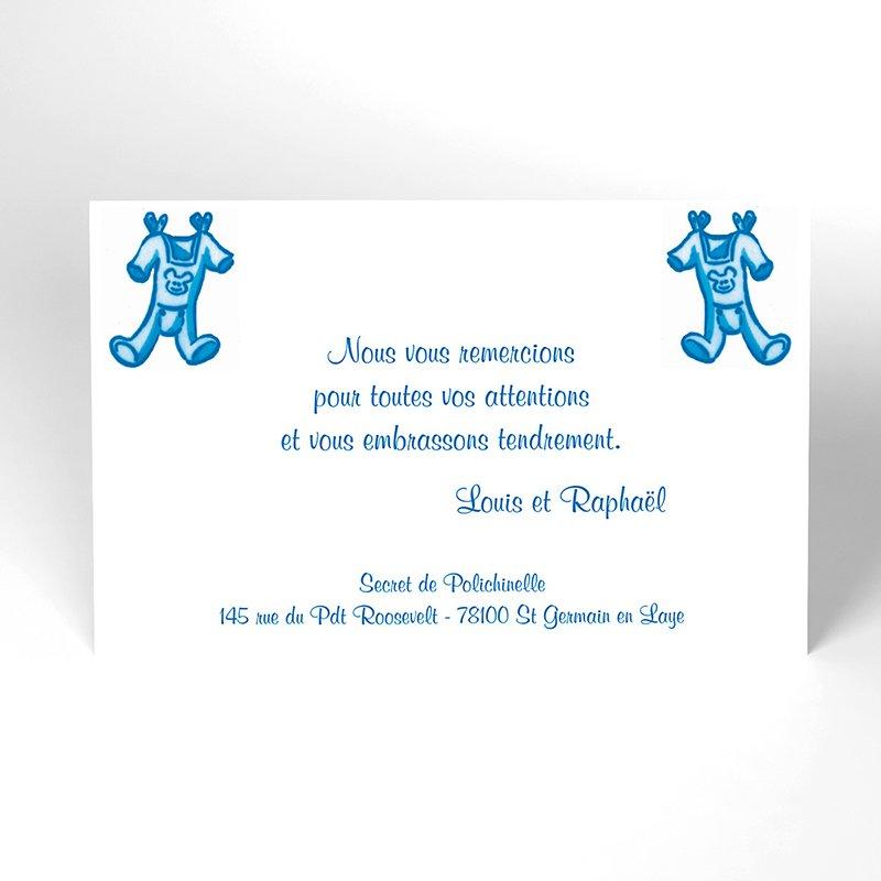 Carte de Remerciement Naissance Layette jumeaux
