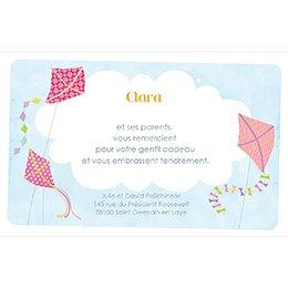Carte de Remerciement Naissance Cerf-Volant fille pas cher