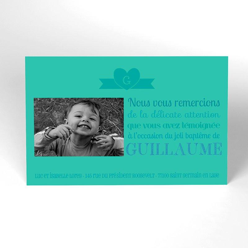 Carte de Remerciement Baptême Mots doux Baptême Garçon