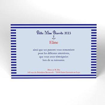 Carte de Remerciement Naissance Ligne Marine