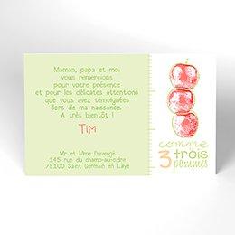 Carte de Remerciement Naissance Comme 3 pommes