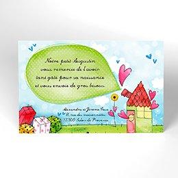 Carte de Remerciement Naissance La Maison du Bonheur