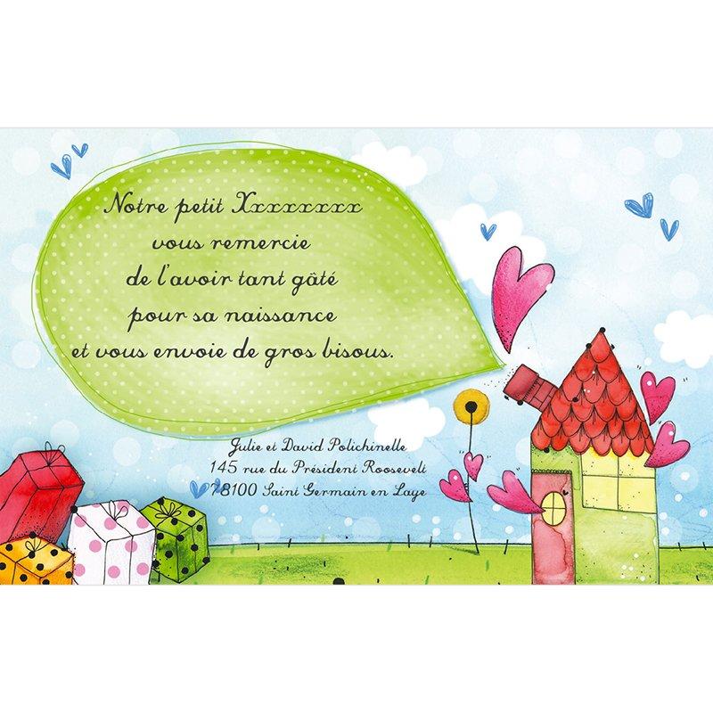 Carte de Remerciement Naissance La Maison du Bonheur pas cher