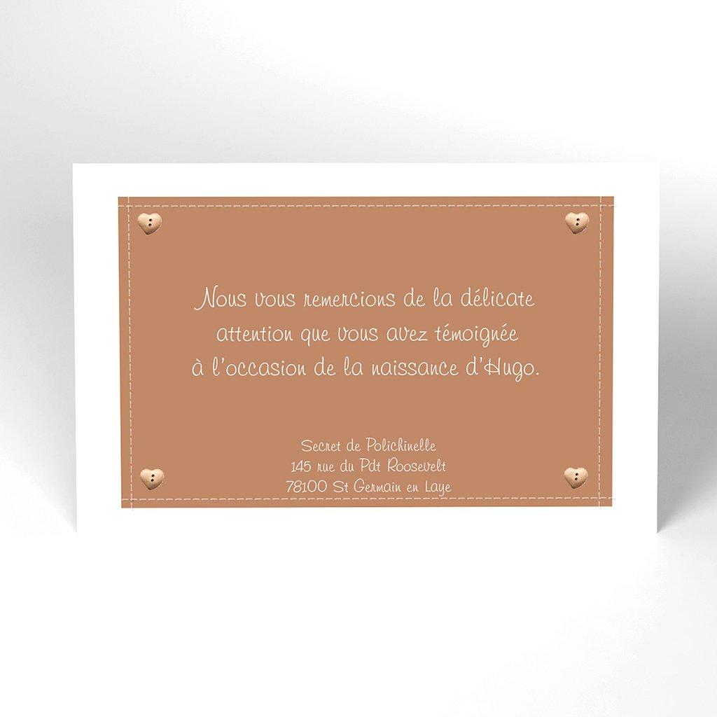 Carte de Remerciement Naissance Patchwork