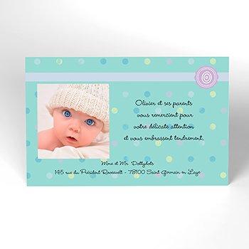 Carte de Remerciement Naissance Confettis personnalisé