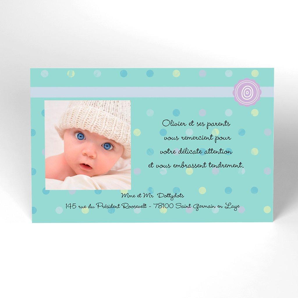 Carte de Remerciement Naissance Confettis