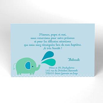 Carte de Remerciement Baptême Sacré Eléphant personnalisé
